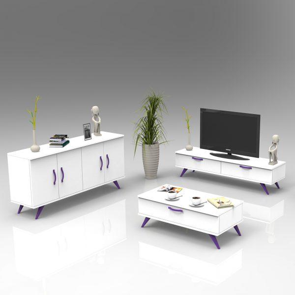 Beyaz renk tv ünitesi konsol ve orta sehpa