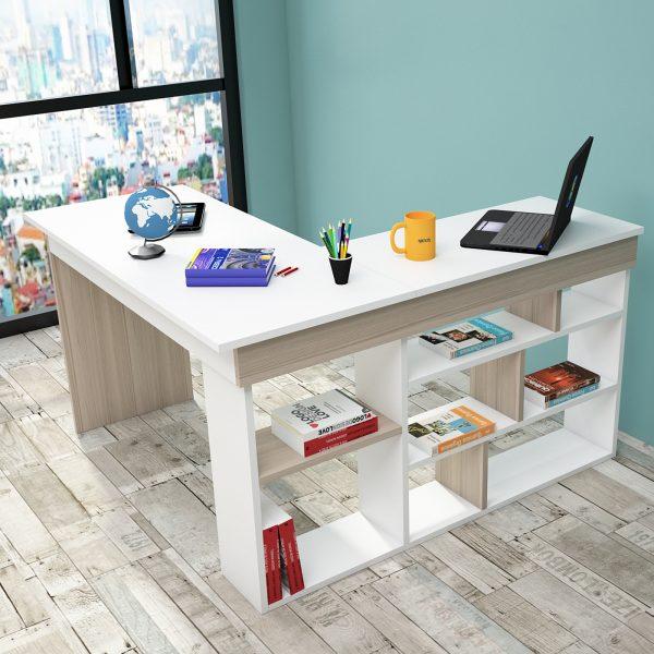 Beyaz ve meşe renkli çalışma masası