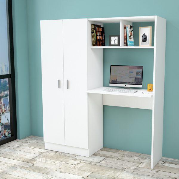 Beyaz renkli çalışma masası ve gardırop
