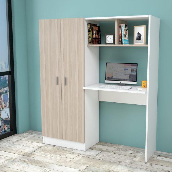 Beyaz meşe renkli çalışma masası ve gardırop