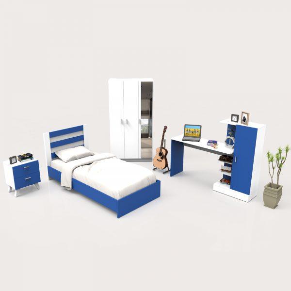 Mavi beyaz renkli genç odası takımı