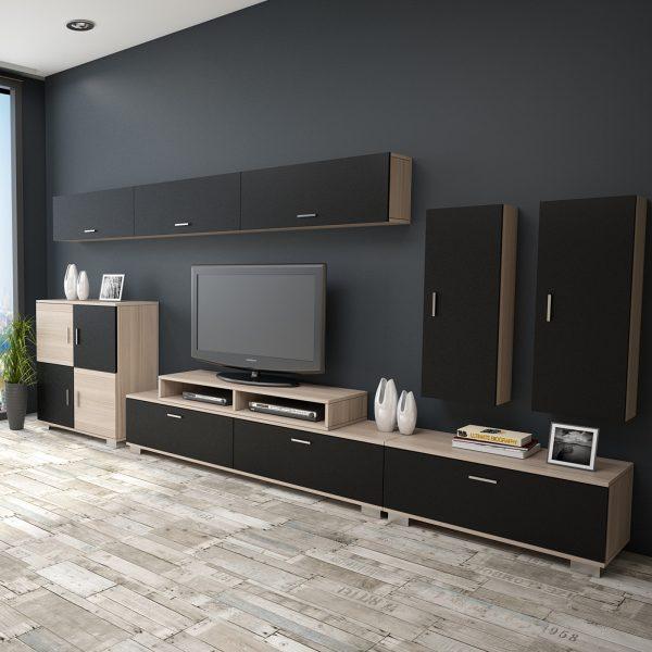 Siyah meşe rengi tv ünitesi