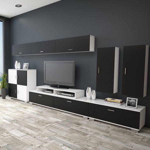 Siyah beyaz renk tv ünitesi