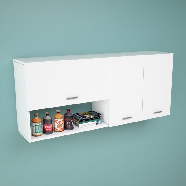 Beyaz renk çok amaçlı kapaklı mutfak dolabı
