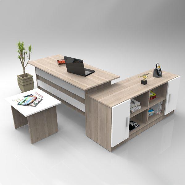 Meşe rengi ofis masa takımı