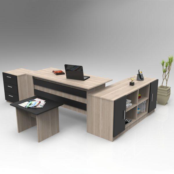 Kahverengi ofis masası takımı